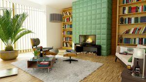 cheminée, décoration dans un salon